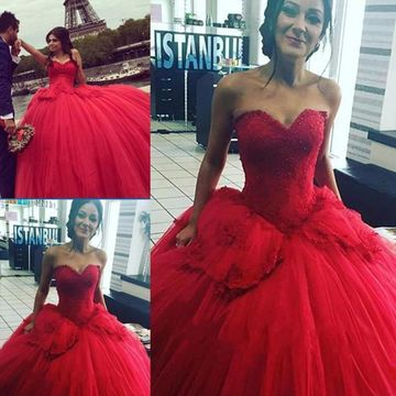 Red Long Wedding Dresses 2019 Ball Gown Sleeveless Sexy