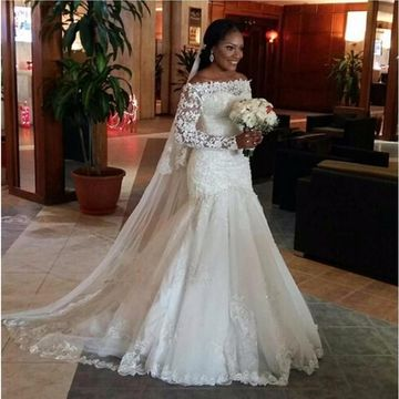 White Long Wedding Dresses 2019 Mermaid Long Sleeves Lace African