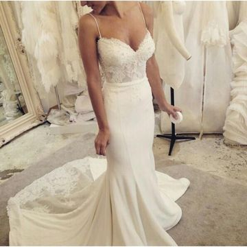 e023f69a25c2 49%OFF White Long Wedding Dresses 2019 Mermaid Sleeveless Lace Sexy ...