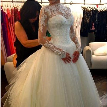 White Long Wedding Dresses 2019 Ball Gown Long Sleeves Sexy