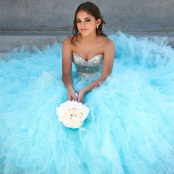 Light Sky Blue Formal Dresses 2019 Ball Gown Sleeveless