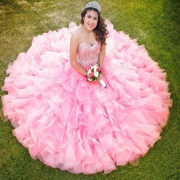 8e356ff4b15 49%OFF Pink Long Quinceañera Dresses 2019 Ball Gown Sleeveless ...