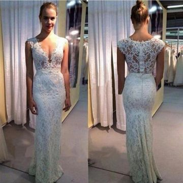White Long Wedding Dresses 2019 Mermaid Sleeveless Lace