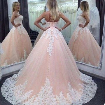 Pearl Pink Long Wedding Dresses 2019 A-line Sleeveless Lace