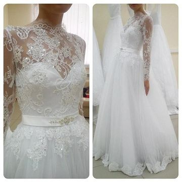 White Long Wedding Dresses 2020 Ball Gown Long Sleeves Lace