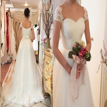 Ivory Long Wedding Dresses 2019 A-line