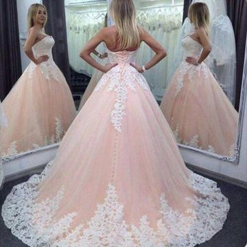 Pink Long Formal Dresses 2020 Ball Gown Strapless Sleeveless Lace