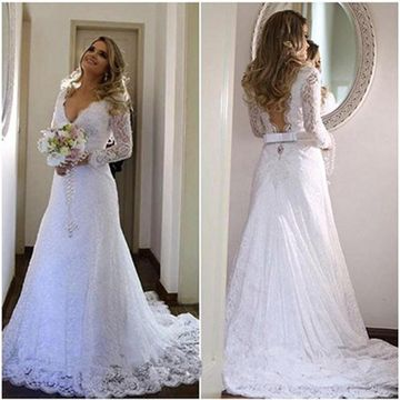White Long Wedding Dresses 2019 A-line V-Neck Open Back Lace Sexy