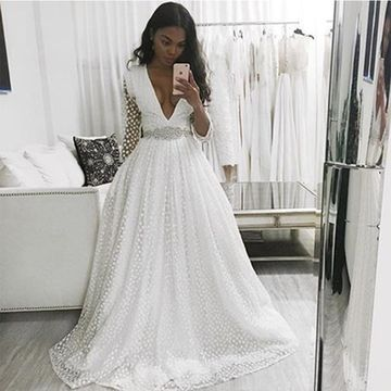 White Wedding Dresses 2019 A-line Sexy
