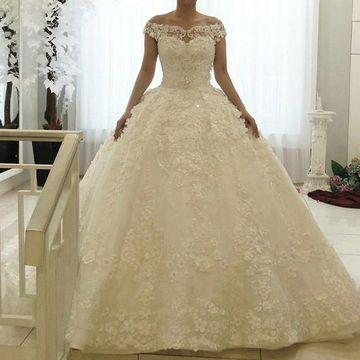 White Long Wedding Dresses 2019 A-line Lace