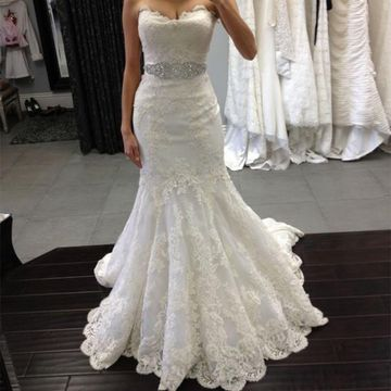 White Long Wedding Dresses 2019 Mermaid Strapless Sleeveless Lace Sexy