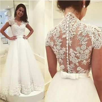 37a39a7cf5c4 49%OFF White Long Wedding Dresses 2019 Ball Gown Lace Sexy ...