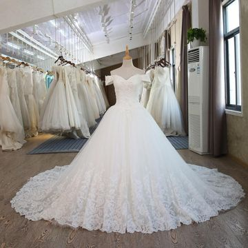 White Long Wedding Dresses 2019 Ball Gown Lace Sexy
