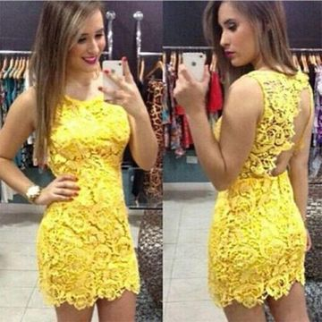 Sexy Yellow Sheath Sleeveless Backless Appliques Homecoming Prom Dresses 2019 Open Back Lace For Short Girls