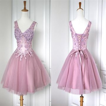 Cute Pink A-line Straps Sleeveless Corset Appliques Homecoming Prom Dresses 2019