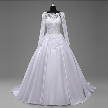White Long Wedding Dresses 2019 Princess Long Sleeves Sexy