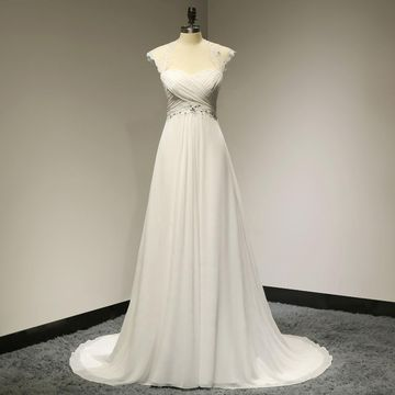 Queen Anne Capped Sleeves Wedding Dresses 2019 Sheath Chiffon