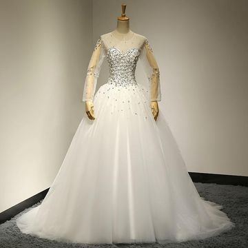 White Long Wedding Dresses 2019 Princess Long Sleeves Lace