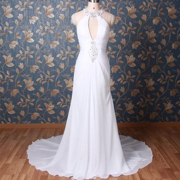 White Long Wedding Dresses 2019 Sheath Halter Sleeveless Chiffon Sexy
