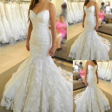 White Long Wedding Dresses 2019 Mermaid Strapless Sleeveless