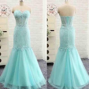 Long Sexy Blue Mermaid Strapless Sleeveless Zipper Appliques Prom Dresses 2019