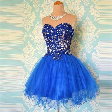 ae5bdfcb08 49%OFF Cute Blue A-line Sweetheart Sleeveless Zipper Appliques ...
