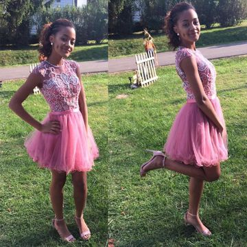 Cute Pink A-line Sleeveless Zipper Appliques Homecoming Prom Dresses 2020