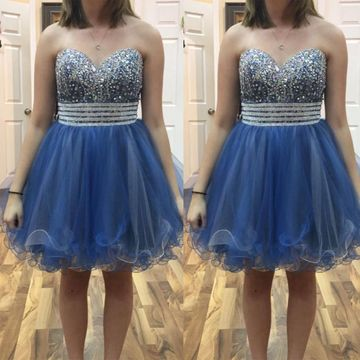 Cute A-line Strapless Sleeveless Zipper Beading Homecoming Prom Dresses 2019 Sexy