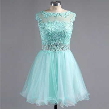 Cute Blue A-line Capped Sleeves Zipper Appliques Homecoming Prom Dresses 2019