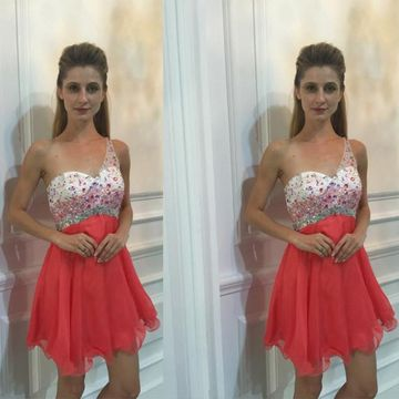 Cute Red A-line One Shoulder Sleeveless Zipper Beading Homecoming Prom Dresses 2020