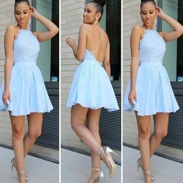 Blue Short Homecoming Prom Dresses 2019 A-line Halter Sleeveless Open Back Chiffon Sexy