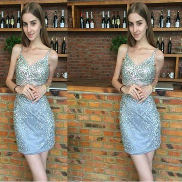 Blue Short Homecoming Prom Dresses 2019 Sheath Sleeveless Cute