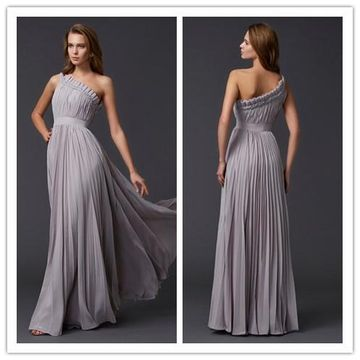 A-Line/Princess One-Shoulder Sleeveless Pleats Long Chiffon Prom Dresses YYY