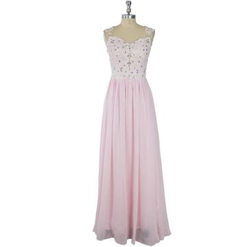 Long Junior Pink A-line Straps Sleeveless Zipper Appliques Prom Dresses 2019
