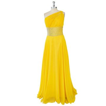 Long Sexy Yellow A-line One Shoulder Sleeveless Zipper Beading Prom Dresses 2019 Chiffon