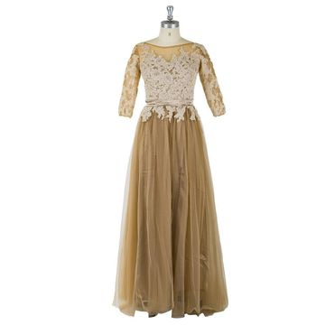 Long Brown A-line 3/4 Length Sleeves Zipper Appliques Prom Dresses 2020