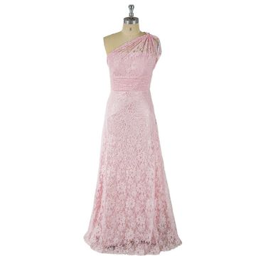 Pink Long Prom Dresses 2020 A-line One Shoulder Sleeveless Lace