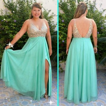 Long Plus Size Blue A-line V-Neck Sleeveless Zipper Beading Prom Dresses 2019 Chiffon Open Back