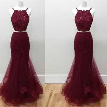 Long Burgundy Mermaid Spaghetti Straps Sleeveless Zipper Beading Prom Dresses 2019 Two Piece