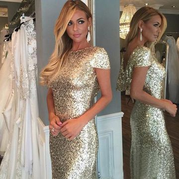 Long Gold Mermaid Short Sleeves Zipper Sequins Prom Dresses 2019