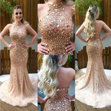 Gold Long Prom Dresses 2019 Mermaid Halter Sleeveless Open Back