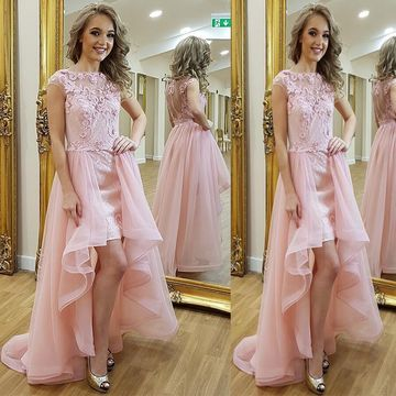 Pink High-Low Long Prom Dresses 2019 A-line For Short Girls