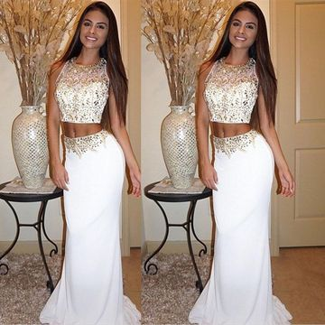 Long White Sheath Sleeveless Zipper Beading Prom Dresses 2019 For Short Girls Two Piece
