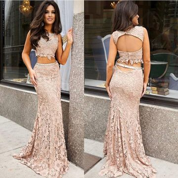 0d2cde448f 49%OFF Long Mermaid Sleeveless Open Back Prom Dresses 2019 Lace Two ...