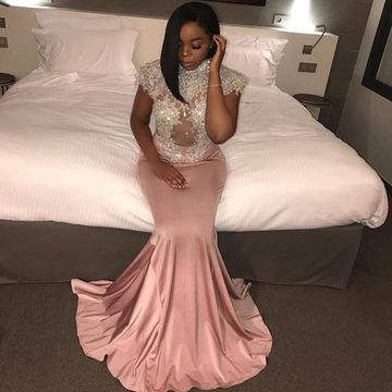 Long Mermaid Capped Sleeves Zipper Beading Prom Dresses 2019