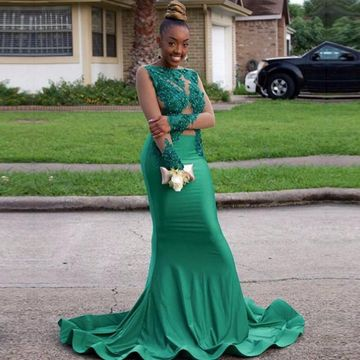 African Green Mermaid Long Sleeves Zipper Appliques Prom Dresses 2019 Sexy