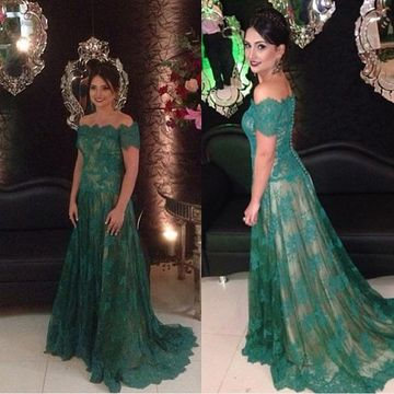 Long Green A-line Short Sleeves Zipper Buttons Prom Dresses 2019 Lace