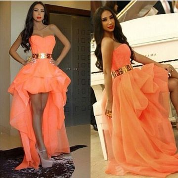 Long Orange A-line Sweetheart Sleeveless Zipper Sash/Ribbon Prom Dresses 2019 For Short Girls