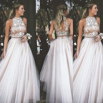 af7d4e59c63 49%OFF Long Junior White A-line High Neck Sleeveless Zipper Appliques Prom  Dresses 2019 Sexy For Short Girls Two Piece – lolipromdress.com