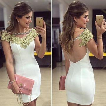 White Sheath Capped Sleeves Zipper Appliques Prom Dresses 2019 For Short Girls